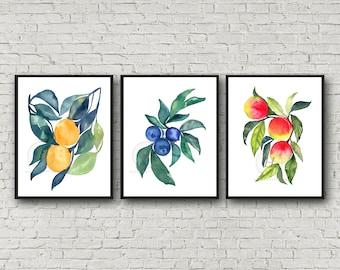 Orange Blueberry Peach print Set of 3