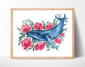 Watercolor Whale Watercolor Print
