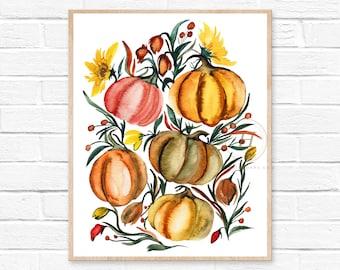 Pumpkins Watercolor Print, Fall Art