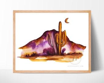 Desert Watercolor Art Print by HippieHoppy