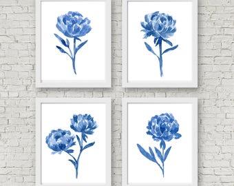 Blue Peony Flowers Set of 4 Prints