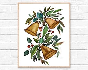 Christmas Bells Watercolor Print