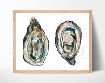 Oysters Shell Watercolor Print by HippieHoppy
