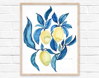 Large Lemon Blue Watercolor Print