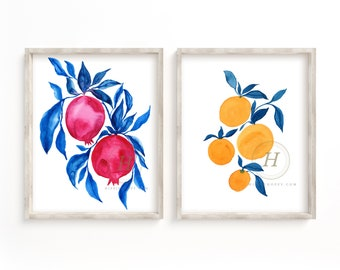 Pomegranate and Orange Watercolor Prints Set of 2