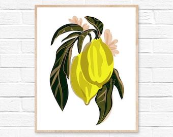 Lemon Botanical Print  Art Print  Kitchen Art  Wall Art  Fruit Print