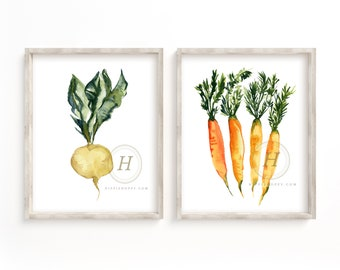 White Radish and Carrot Watercolor Prints set of 2