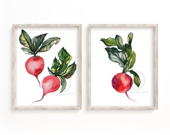 Radish Vegetables Watercolor Print set of 2