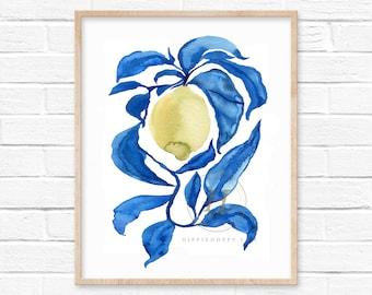 Lemon Blue Leaves Watercolor Print