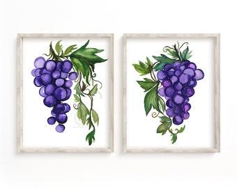 Grapes Watercolor Painting Print set of 2