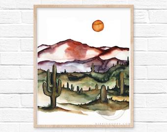 Arizona Desert Watercolor Print Wall Decor by HippieHoppy
