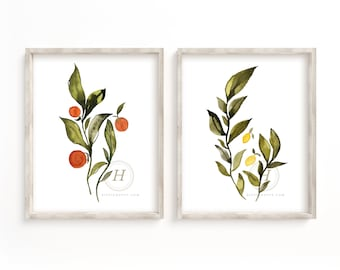 Citrus Watercolor Art Print set of 2