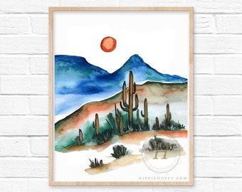 Large Desert Wall Art Watercolor Print