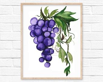 Large Grapes Watercolor Print