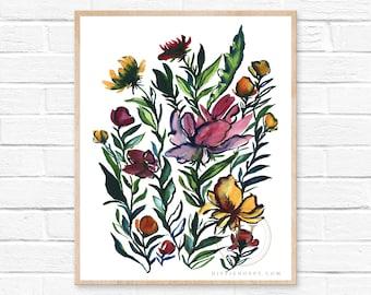 Large Flowers Watercolor Art Print by HippieHoppy