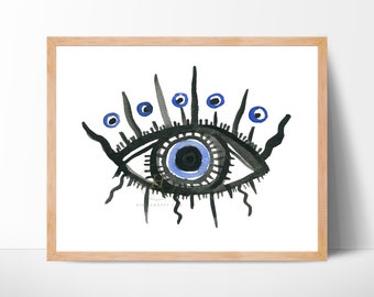 Evil Eye Greek Mati Eye Nazar Amulet Protection Good Luck Home Decor