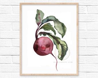 Beet Watercolor Print Vegetable Art