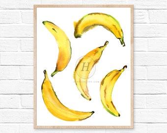 Watercolor Banana Print