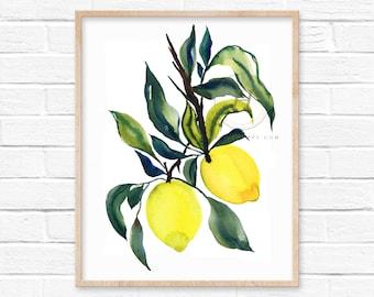 Colorful Lemons Watercolor Print