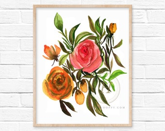 Flower Watercolor Art Print Floral Decor by HippieHoppy