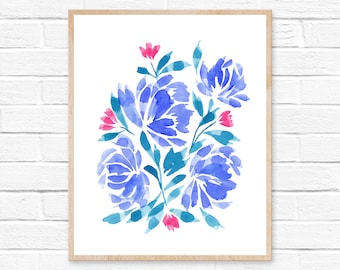 Floral Watercolor Print No.55, Flower blooms, Abstract Art, Watercolor Abstract Decor, Flower Watercolor Print, Watercolor Painting Abstract