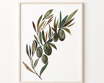 Large Olive Branch Watercolor Art Print