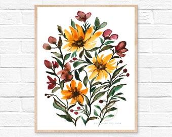 Fall Flowers, Watercolor Print, Modern Art by HippieHoppy