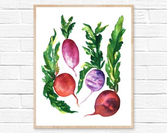 Radish Vegetable Art Watercolor Print