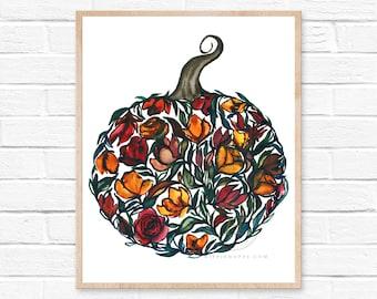 Pumpkins Wall Art, Pumpkin Art Print, Fall Décor, Fall Art Print, Watercolor Painting