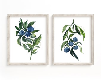 Blueberry Watercolor Set of 2 Prints