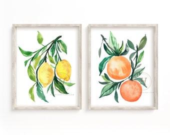 Orange and Lemon Prints Sets of 2