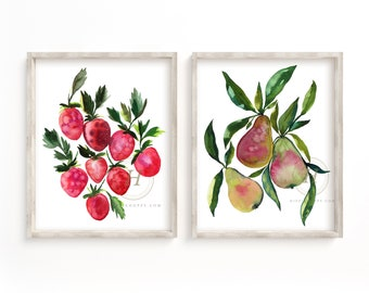 Strawberry and Pear Watercolor Print Set