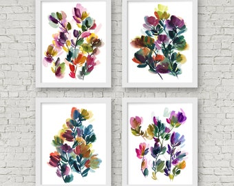 Abstract Flower Watercolor Print Set of 4