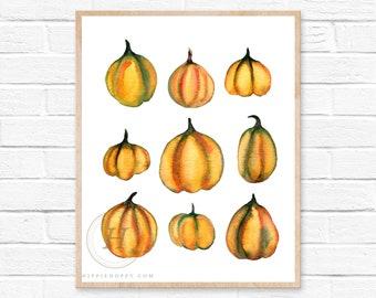 Pumpkins Watercolor Print