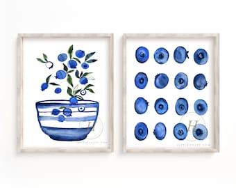 Blueberry Watercolor Art Print Set of 2