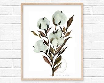 Cotton Stem Watercolor Print