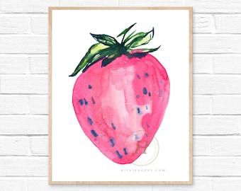 Strawberry, Watercolor Print, Modern Art by HippieHoppy