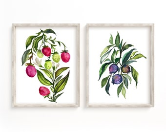 Strawberry and Blueberry Watercolor Prints