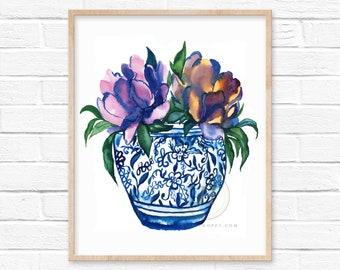 Flowers in Jar Watercolor Art Print by HippieHoppy