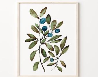 Wild Blueberries Watercolor Print Kitchen Art