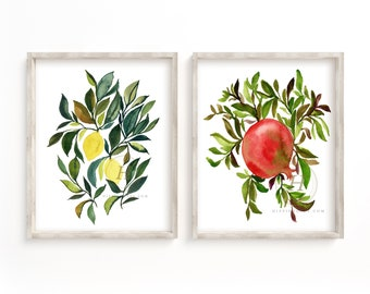 Lemon and Pomegranate Watercolor Art Prints set of 2 by HippieHoppy