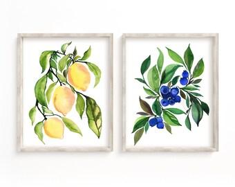 Large Lemon and Blueberry Print Set