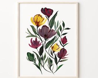 Flowers Watercolor Print, Artwork