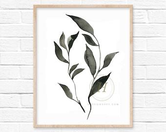 Black Leaf Watercolor Print
