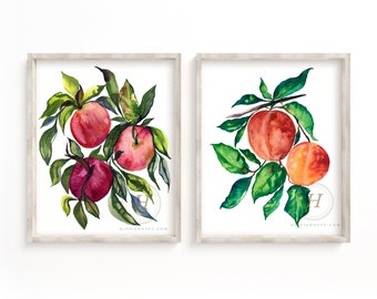 Apples and Peaches Watercolor Print set of 2