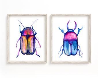Large Beetle Watercolor Prints