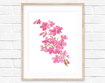 Cherry Blossom 01, Watercolor Print, Pink Home decor, Abstract Pink Print, Giclee Fine Art Print, Watercolor Cherry Blossom Room Decor, Pink