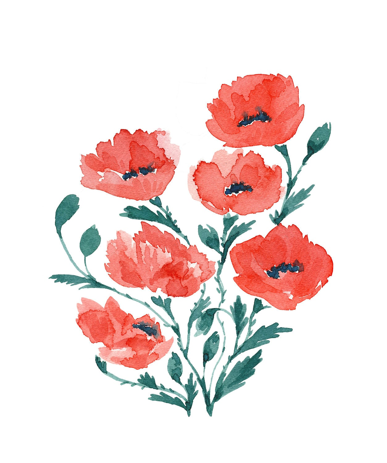 Red Poppies 101 Watercolor Print Red Poppy Red Poppies Art Poppy