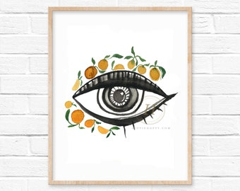 Evil Eye with Oranges Watercolor Print
