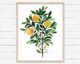 Large Orange Tree Watercolor Art Print